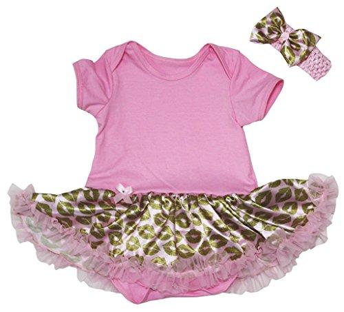 Petitebella Bébé Thème De Jour De La Mère Des Filles Robe Justaucorps En Coton Uni Leopard En Or Rose