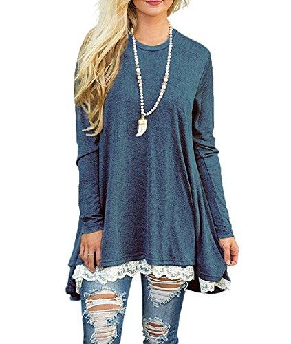 FOMANSH Women's Casual Tops Lace Hem Long Sleeve Tunic Blouse Blue L