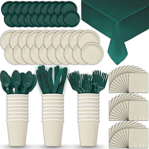 (Paper Tableware Set for 24 - Cream & Hunter Green - Dinner and Dessert Plates, Cups, Napkins, Cutlery (Spoons, Forks, Knives), and Tablecloths - Full Two-Tone Party Supplies Pack )
