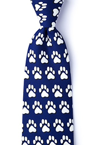 Blue Silk Tie | Paw Prints Necktie