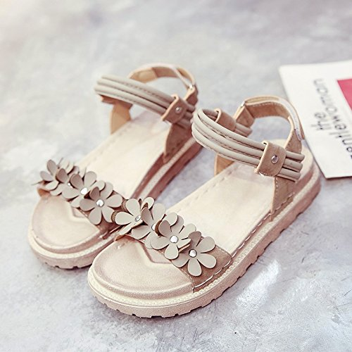 RUGAI-UE Flor sandalias planas estudiante Playa viento Retro zapatos de mujer Beige