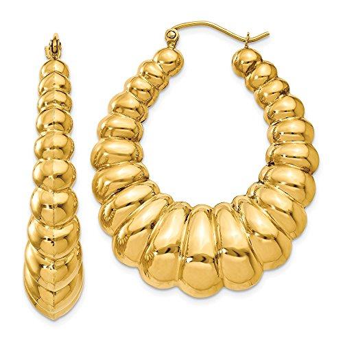 14K Yellow Gold 7.00MM Scalloped Oval Shrimp Hoop Earrings ()