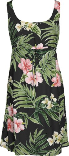 RJC Womens Pale Hibiscus Orchid Empire Tie Front Short Tank Dress Black XL by RJC
