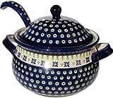 Polish Pottery Soup Tureen with Ladle Zaklady Ceramiczne Boleslawiec 1004/1367-296a Classic Pattern, 13.4 Cups