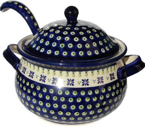Polish Pottery Soup Tureen with Ladle Zaklady Ceramiczne Boleslawiec 1004/1367-296a Classic Pattern, 13.4 Cups - Polish Pottery Soup Tureen
