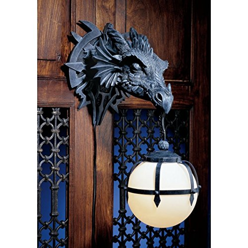 Fantasy Electric Wall Sconce - Ebros Large Sculptural Shadow Basilisk Dragon Wall Sconce Electrical Spherical Ball Lamp Fantasy Gothic Wall Plaque Decor