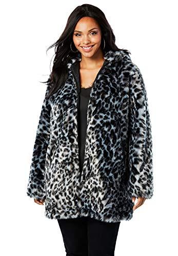 - Roamans Women's Plus Size Short Faux Fur Coat - Grey Leopard Print, 18/20