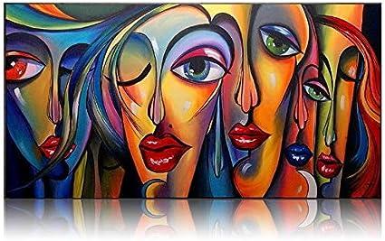ZHUAIBA Hecho a Mano Estilo Picasso Pinturas al óleo Grandes Chicas Ojo Moderno Moderno Mujer Abstracta Figuras de Pared Cuadros para la decoración deEstar 100x180cm sin Marco