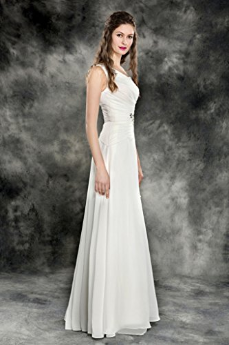 Ivory Dress BessWedding Long Sleeveless Chiffon Beaded Cocktail Women Shouldert s One xqn1xSwCv