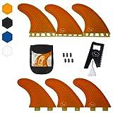 Thruster Surfboard Fins (3 Fins) - Perfect Flex with Honeycomb (Orange, FCS)