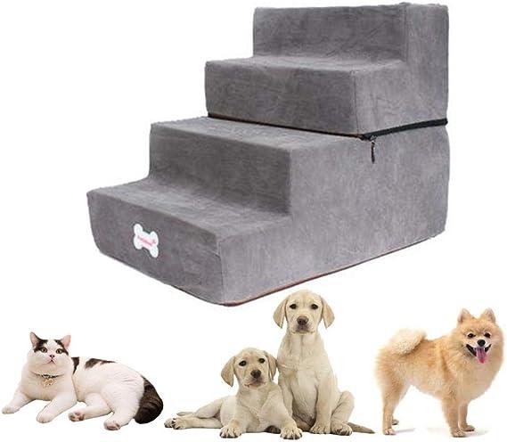 Chengstore Escaleras para Mascotas De 4 Perros, Escaleras Lavables Extraíbles, Peldaño De Espuma Suave, Peldaños para Perros Y Gatos Rampa para Cachorros Y Gatitos, Cama Y El Sofá: Amazon.es: Productos para mascotas