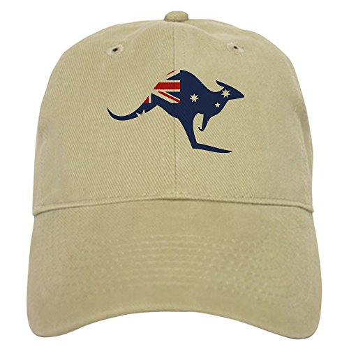 CafePress - Australian Flag Kangaroo - Baseball Cap with Adjustable Closure, Unique Printed Baseball Hat (Cap Australia)