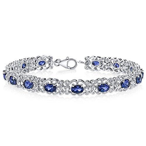 Sterling Gold Vintage Bracelets - Created Sapphire Bracelet Sterling Silver 8.50 Carats Vintage Design