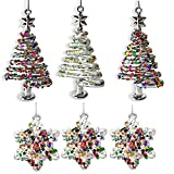 BANBERRY DESIGNS Glass Christmas Tree Ornament Set - Set of 6 Assorted Sparkly Trees and Snowflakes - Glittered Ornaments Boxed - Whimsical Xmas Ornaments