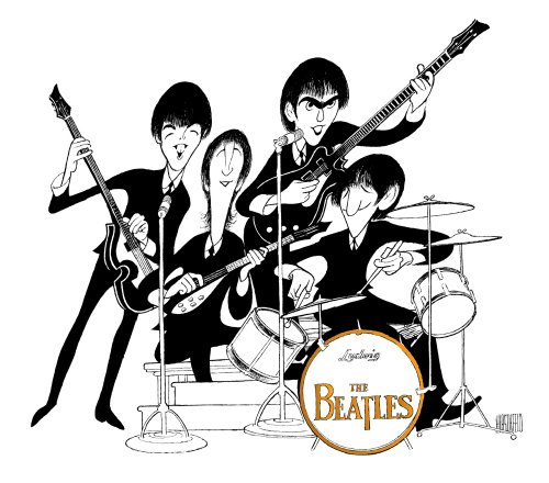 Al Hirschfeld's THE BEATLES MAKE THEIR DEBUT ON THE ED SULLIVAN SHOW Hand Signed Limited Edition Lithograph