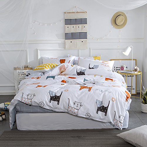 VClife Cartoon Duvet Cover Twin Queen Bedding Sets, Chic Ocean Fish & Stripe Geometric Pattern, Cotton Bedding Comforter Cover Sets with Zipper Closure & Corner Ties,Boy Girl Surprising Gift, Queen ()