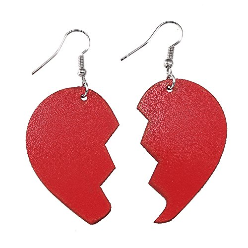 TIDOO Jewelry Girl's Broken Heart Leather Earrings for Women Love Heart Drop Earring (13# Red) - Heart Leather Earrings