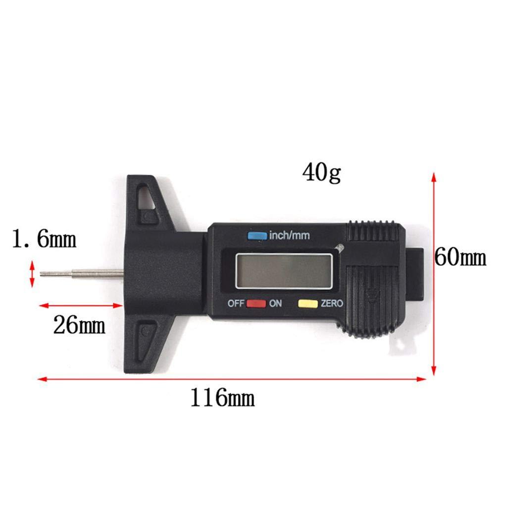 Lorjoyx Mostra 0-25mm elettronico digitale degli pneumatici Profondit/à del battistrada Misurazione di utensili Black Pattern del calibro di profondit/à Strumento Calibro digitale
