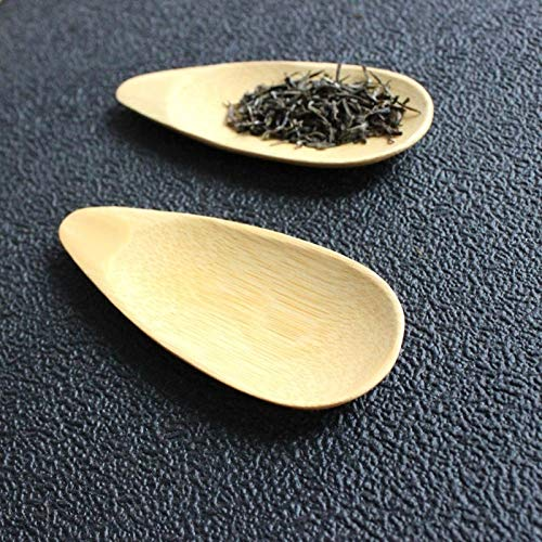 LZSUS 2 PCS Cute Melon seed shape Handmade Mini Bamboo Tea Scoops Kung Fu Tea Spoon Black Green Tea Shovel