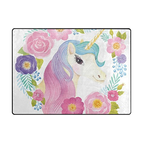 Vantaso Soft Foam Nursery Rugs Unicorn Fantasy Rainbow Non Slip Play