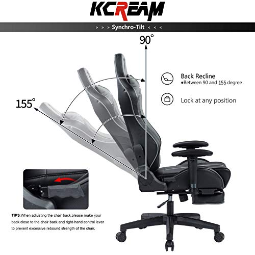 KCREAM E-Sports Chair with Headrest and Lumbar Pillows PVC Leather Ergonomic High-Back Gaming Chair Adjustable Height Professional Gamer Chair (8515-Grey)