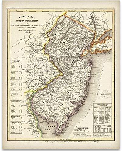 1846 New Jersey Map - 11x14 Unframed Art Print - Great Vintage Home Decor Under $15