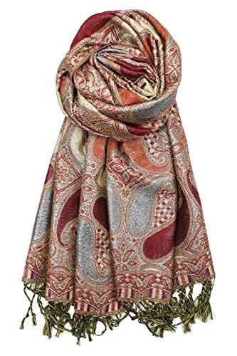 Achillea Women's Paisley Pattern Sparkling Metallic Pashmina Shawl Wrap Scarf Stole (Burgundy) - Lurex Metallic Thread