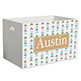 Personalized Tribal Triangles Childrens Nursery White Open Toy Box