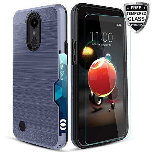 LG LV3 Case/Aristo/Phoenix 3/Fortune/Risio 2/Rebel 2 LTE/Rebel 3 LTE/K8  2017 Case[HD Tempered Film][Card Slot ] Soft Elastic TPU Material Impact