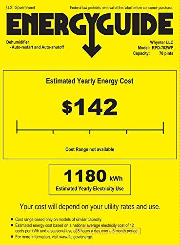 Deshumidificadores portátiles Whynter Energy Star de 70 puntas - Serie Elite, blanco