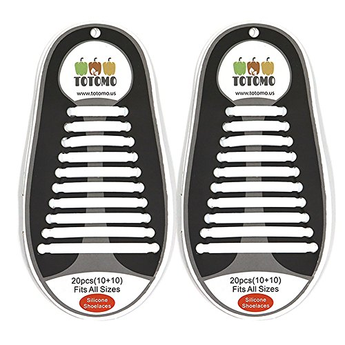 TOTOMO No-Tie Elastic Silicone Shoe Laces, Kids/Adults Athletic Bubble, - Tennis Sketcher Brown Shoes