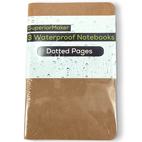 SuperiorMaker Small Kraft Dotted Waterproof Notebook (3 Pack) - Pocket Sized All Weather Notebook - 3.5