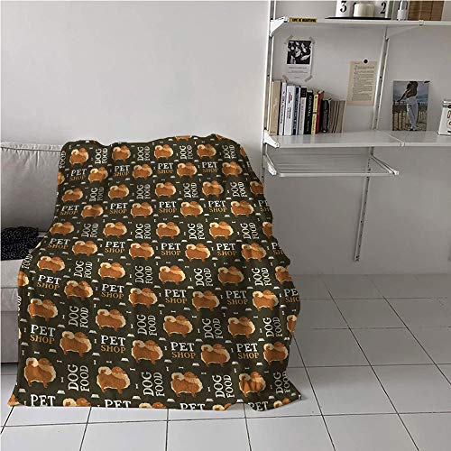 (Suchashome Pomeranian Portable Blanket,Pet Dog Food Pattern with Bowls Bones Animals Words,Lightweight Thermal Blankets,Blanket for Sofa Couch Bed 60