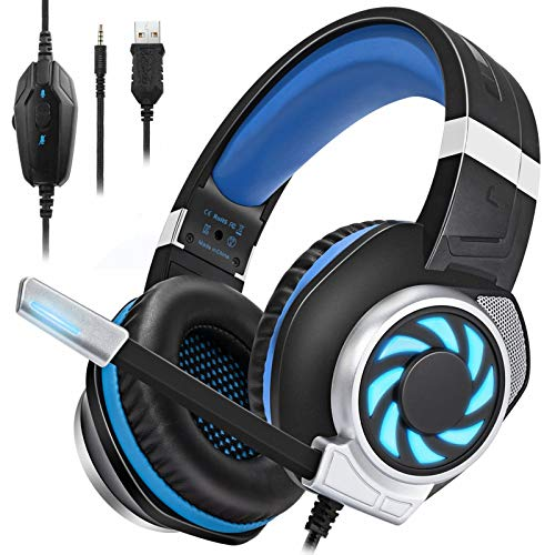 BUTFULAKE GH-3 Gaming Headset for Xbox One, Xbox One S, PS4, PC, Nintendo Switch, Mac, Laptop, 3.5mm Wired Over-Ear Gaming Headphones with LED Light, Noise Canceling Microphone, Black Blue