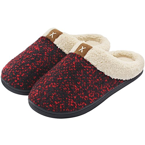 Women's Comfort Memory Foam Slippers Wool-Like Plush Fleece Lined House Shoes w/ Indoor, Outdoor Anti-Skid Rubber Sole Wine Small / 5-6 B(M) - Fleece Lined Wool