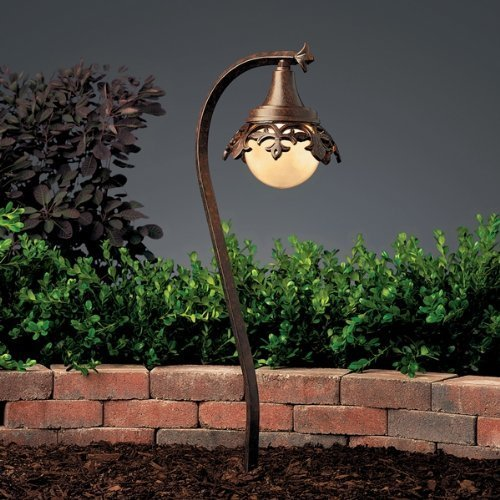 15369TZT Vintage Park 1LT Incandescent/LED Hybrid Low Voltage Landscape Path and Spread Light, Textured Tannery Bronze Finish and Tea Dust Glass by Kichler - Textured Tannery Bronze Finish