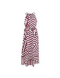 Thobu Women Dresses On Sale Fashion Women Summer Dress Boho Maxi Long Evening Party Dress Sundress Wine Red & White Medium