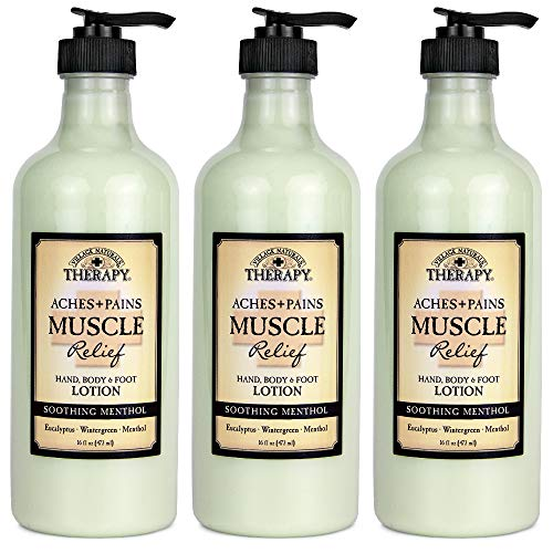 Village Naturals Therapy Muscle Relief Natural Lotion 16 Fl Oz (3-Pack)