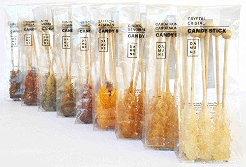 Kandiszucker am Stäbchen: Kristall (2), Safran, Kardamom, Zimt, Minze, Ingwer, Hibiskus, Zitrone und Kümmel. 60 Sticks.