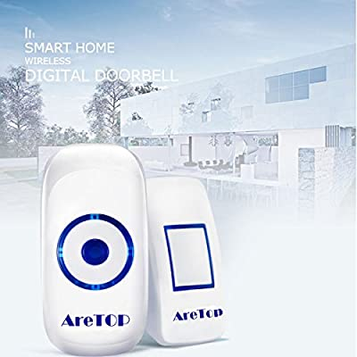 Wireless Doorbell Waterproof Door Bell Kit With 36 Melodies, 4 Volume Levels and LED Flash, Operating at 1000 Feet , Battery Powered