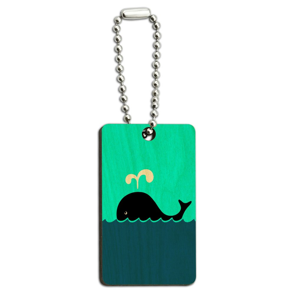 Whale of a Time Wood Wooden Rectangle Key Chain