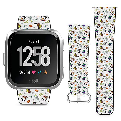 Compatible with Fitbit Versa // Leather Replacement Bracelet Strap Wristband with Quick Release Pins // Doodle Happy Halloween Cartoon]()