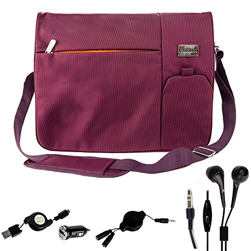 Price comparison product image Men's Messenger Bag Purple for Acer Aspire / Chromebook / Chromebook 15 / Spin / Swift / 15.9'' + 2.1 Mini USB Car Charger with 3' Micro USB Cable + 3.2' Headphone Splitter Cord