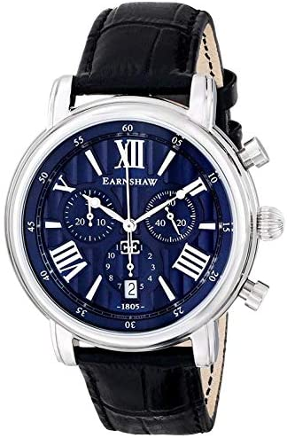 Thomas Earnshaw Longcase 43 Silver Black Blue