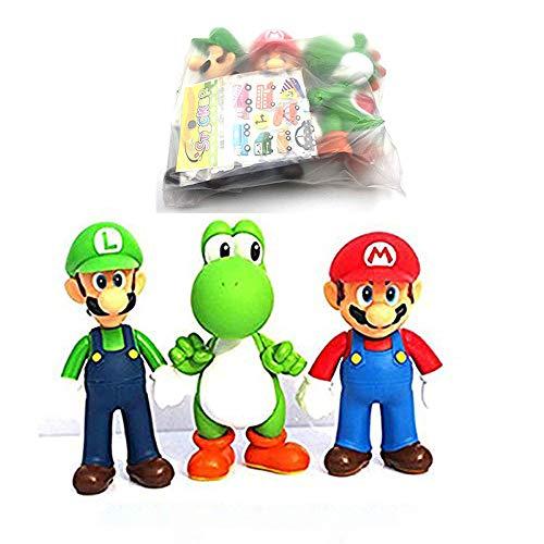 (3 Pcs Super Mario Bros Luigi Mario Yoshi PVC Action Figures Toy, 4.7