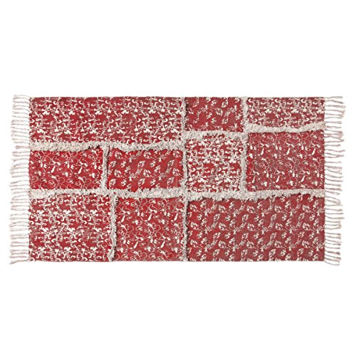 VHC Brands 20362 Farmhouse Flooring - Isabella Red Stenciled Patchwork Rug, 2'3