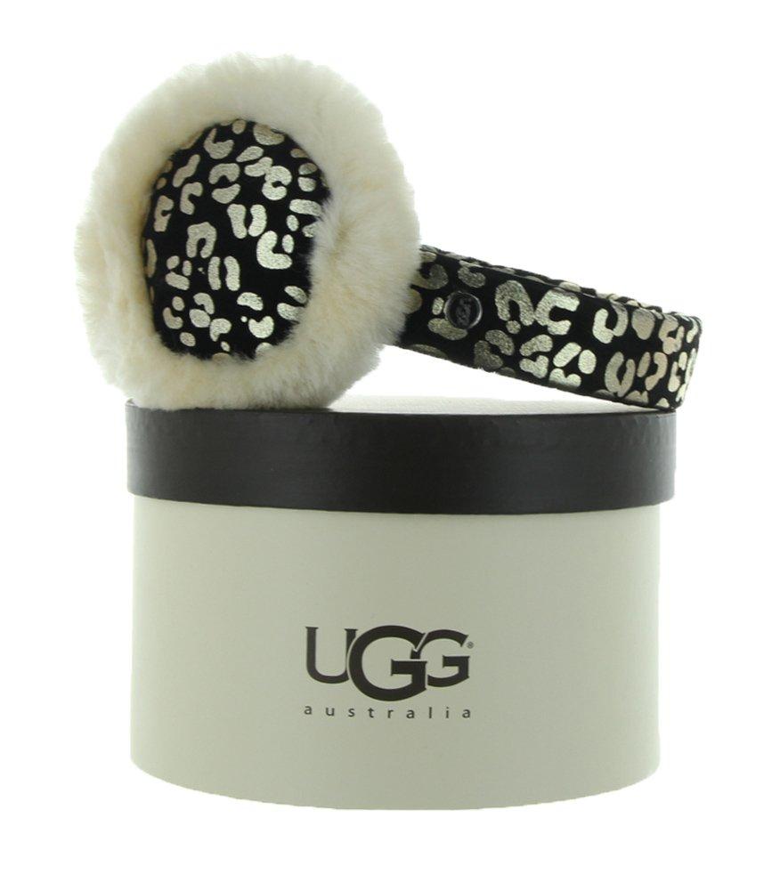 UGG Australia Womens Raaine Leopard Earmuff Black Multi One Size