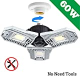 Led Garage Lighting, Deformable Garage Light 6000LM, 60W Shop Lights for Garage, Ultra-Bright Mining Lamps with 3 Adjustable Panels, Garage Ceiling Light for Workshop/Warehouse (No Motion Detection)