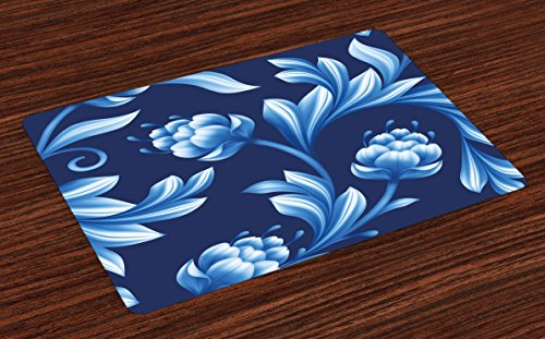Lunarable Royal Blue Place Mats Set of 4, Blossoms in Pastel Toned Colors Folkloric Art Floral Flourish Design, Washable Fabric Placemats for Dining Room Kitchen Table Decor, Navy Blue