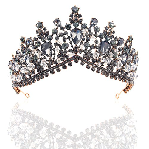 Yean Wedding Crown and Tiara Bridal Baroque Vintage Rhinestone Headband for Bride and Bridesmaid Black (Dark Grey) ()